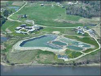 Aerial view of the Warren, Maine lagoon system. Photo courtesy of Woodard and Curran.